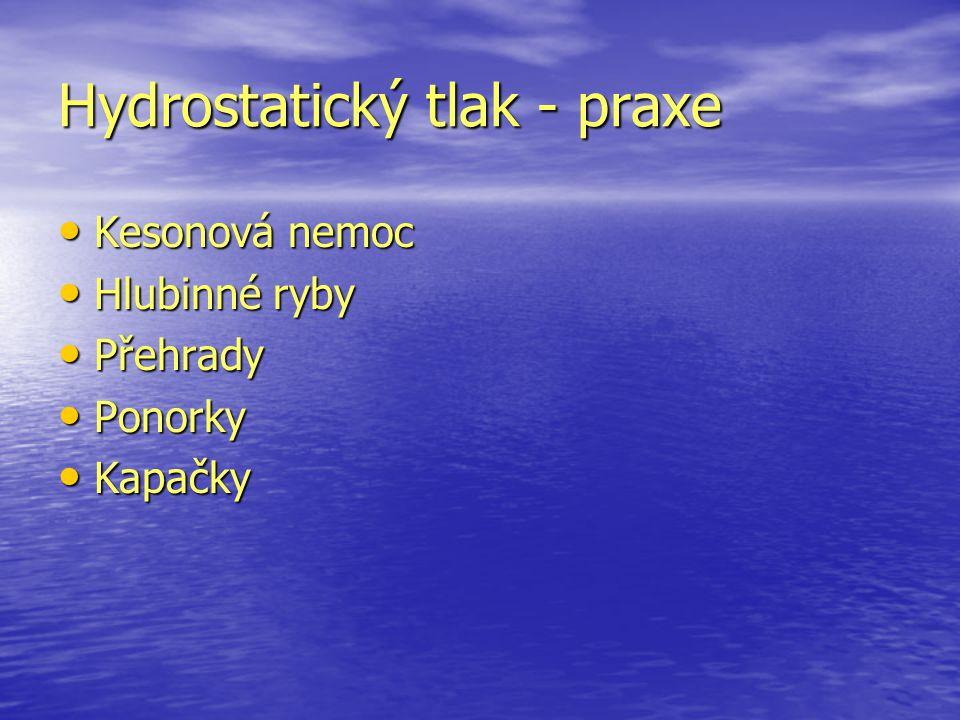Hydrostatický tlak - praxe