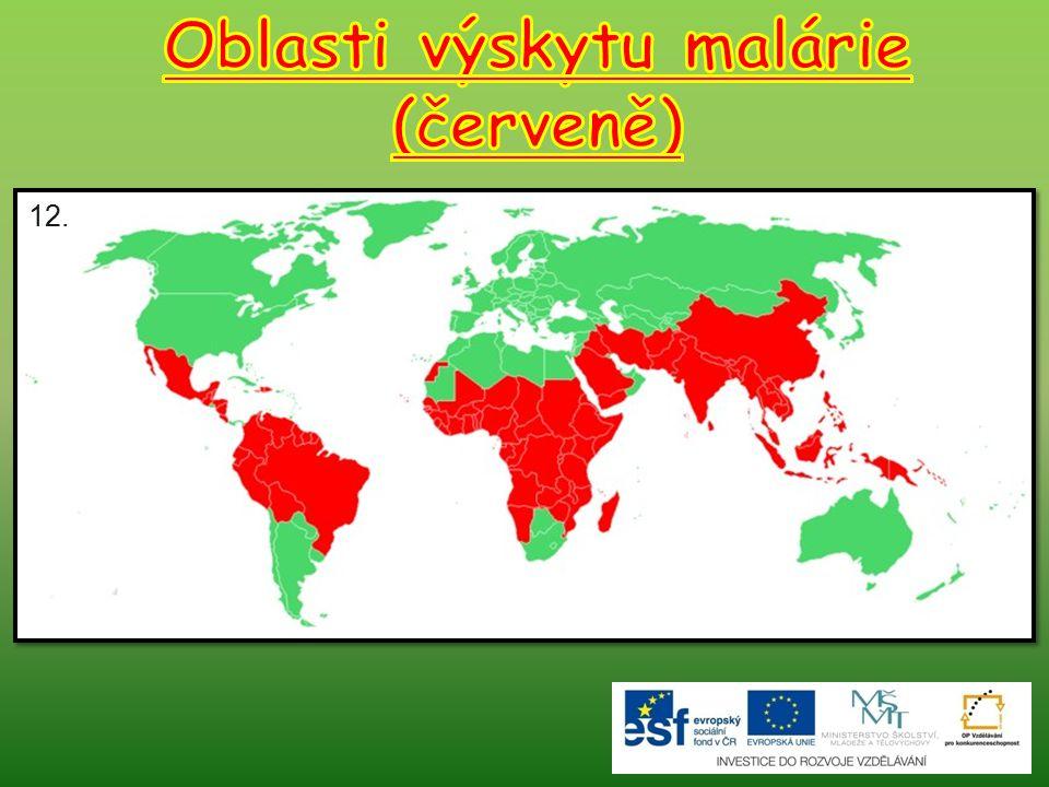 Oblasti výskytu malárie (červeně)