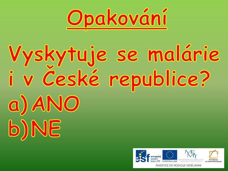 Opakování Vyskytuje se malárie i v České republice ANO NE