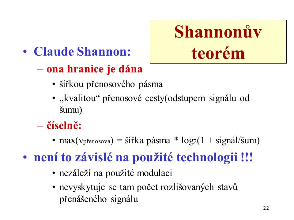 Shannonův teorém Claude Shannon:
