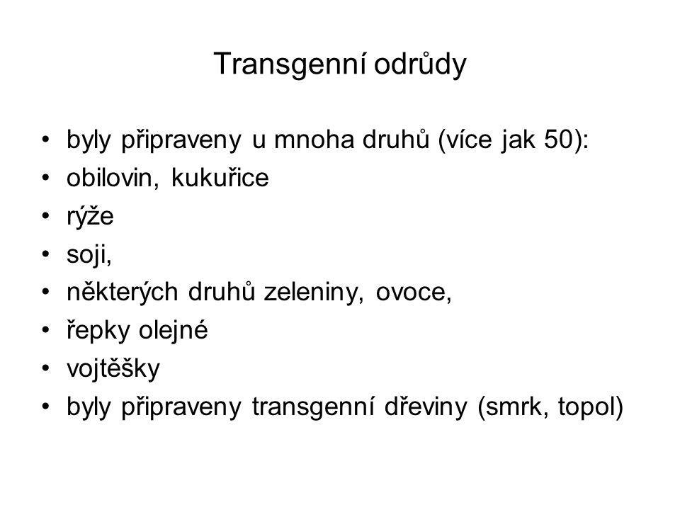 Transgenní odrůdy byly připraveny u mnoha druhů (více jak 50):