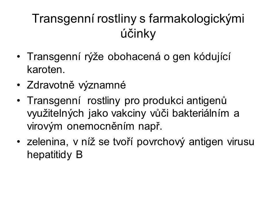 Transgenní rostliny s farmakologickými účinky