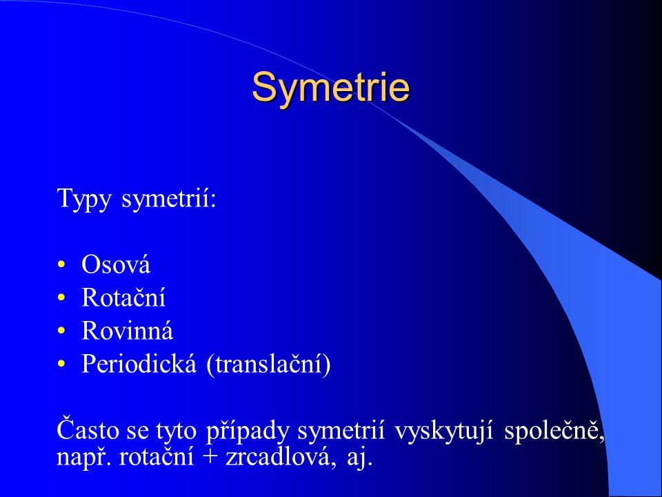Symetrie Typy symetrií: Osová Rotační Rovinná Periodická (translační)