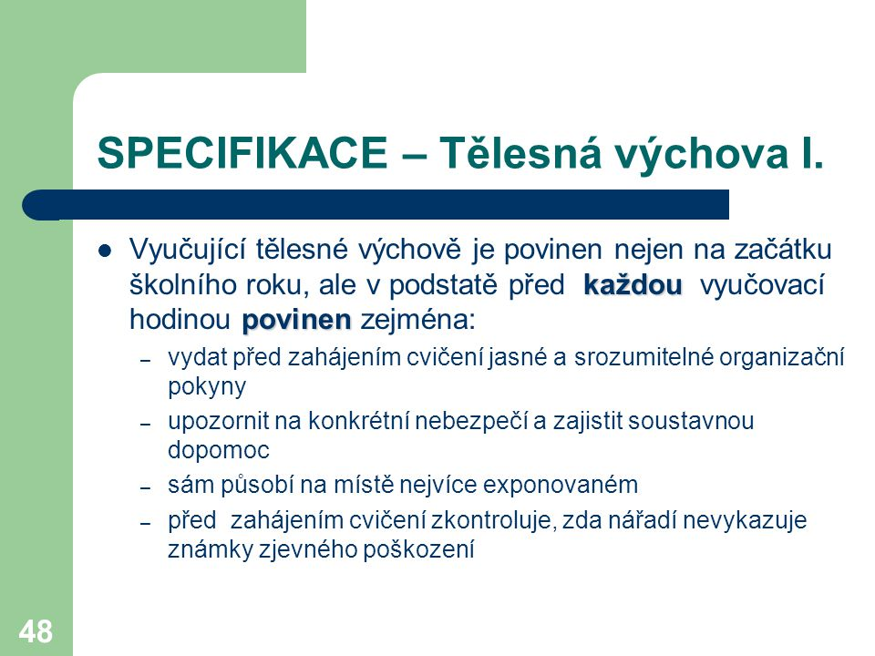 SPECIFIKACE – Tělesná výchova I.