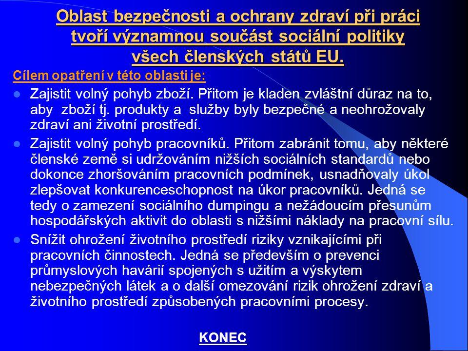 Oblast bezpečnosti a ochrany zdraví při práci tvoří významnou součást sociální politiky všech členských států EU.