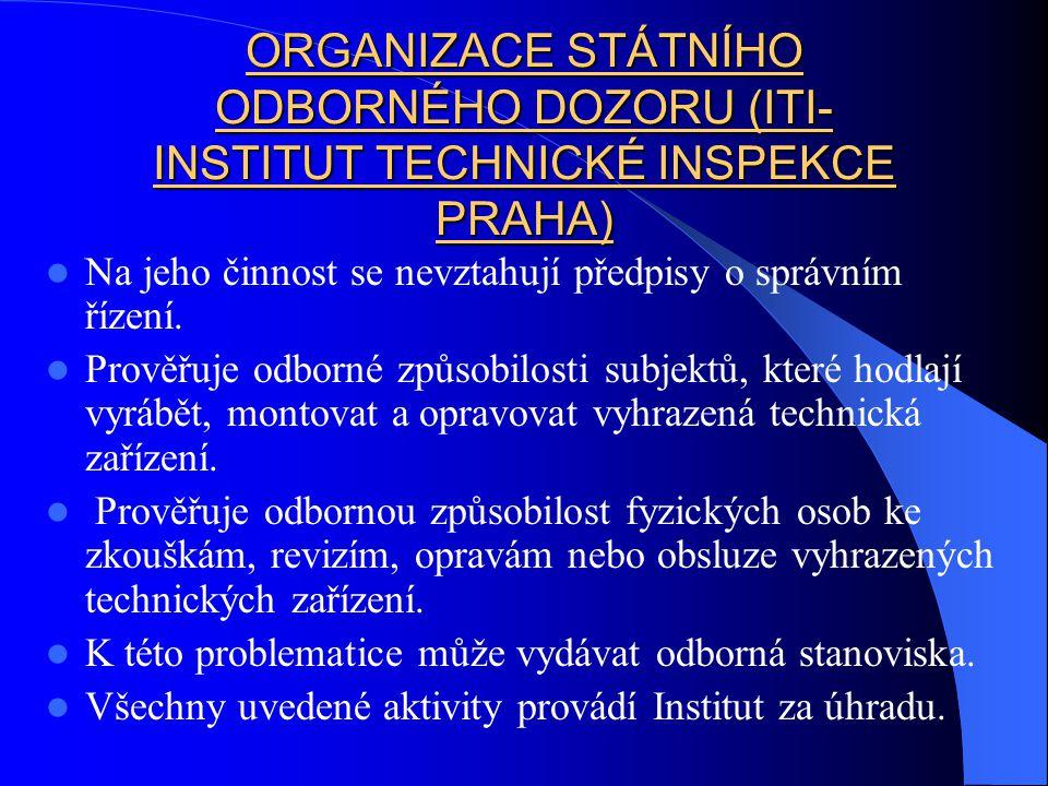 ORGANIZACE STÁTNÍHO ODBORNÉHO DOZORU (ITI- INSTITUT TECHNICKÉ INSPEKCE PRAHA)