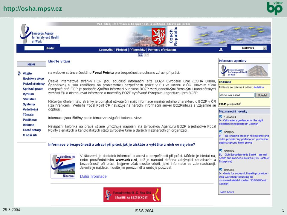 http://osha.mpsv.cz 29.3.2004 ISSS 2004