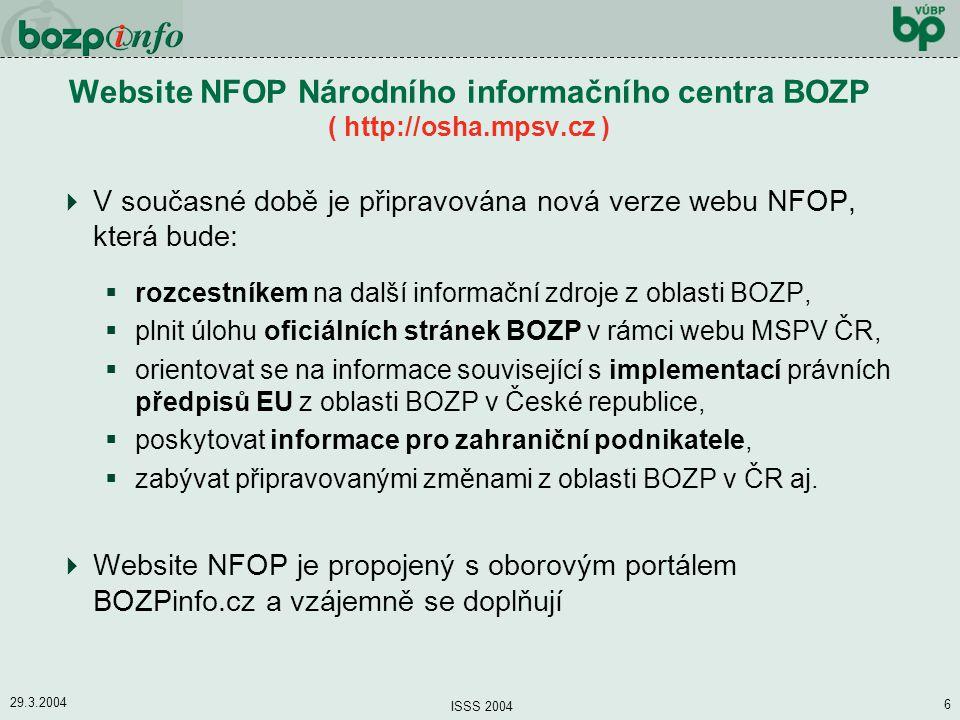 Website NFOP Národního informačního centra BOZP ( http://osha. mpsv