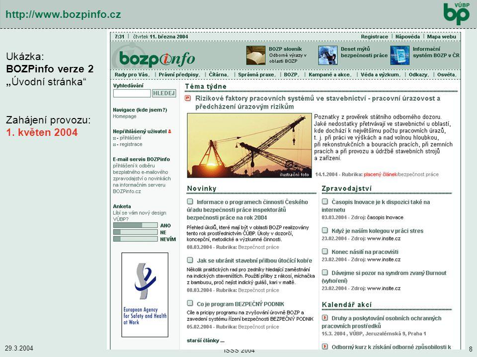 """Ukázka: BOZPinfo verze 2 """"Úvodní stránka"""