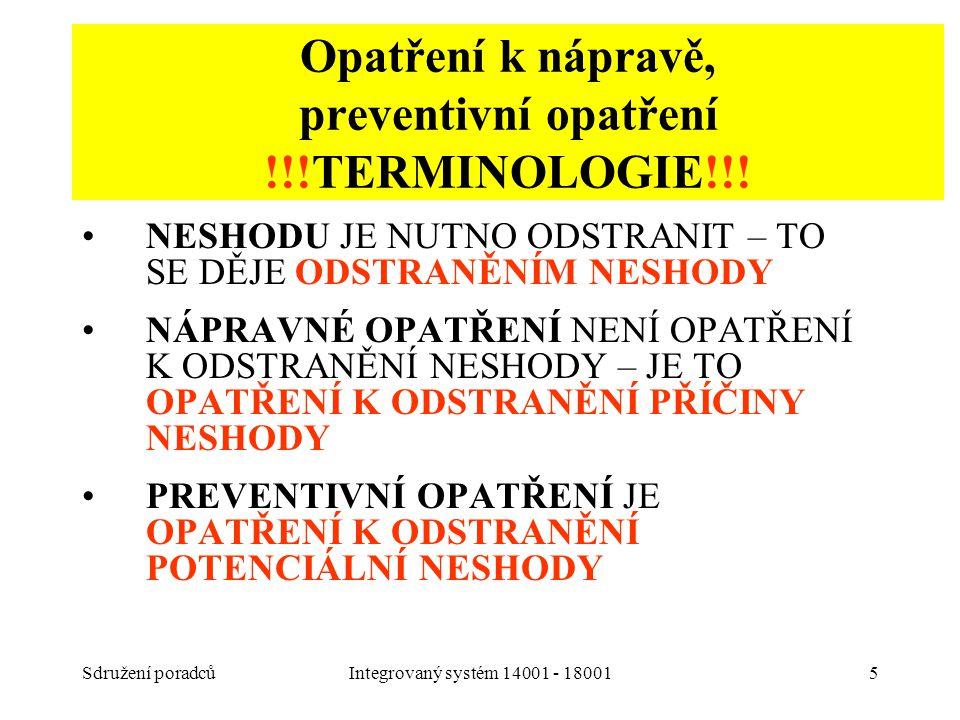 Opatření k nápravě, preventivní opatření !!!TERMINOLOGIE!!!