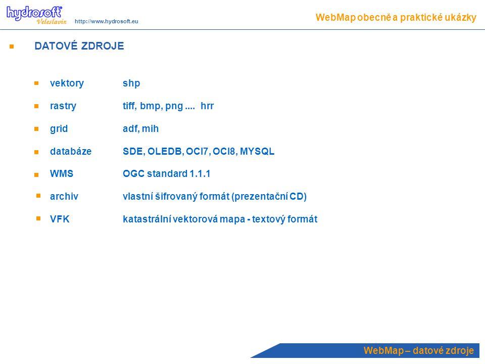 DATOVÉ ZDROJE WebMap obecně a praktické ukázky vektory shp