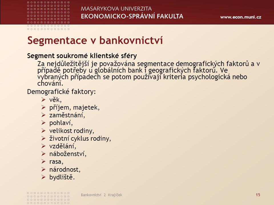 Segmentace v bankovnictví