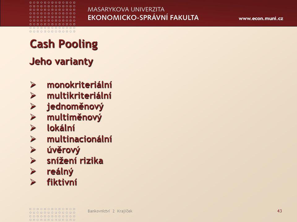 Cash Pooling Jeho varianty monokriteriální multikriteriální