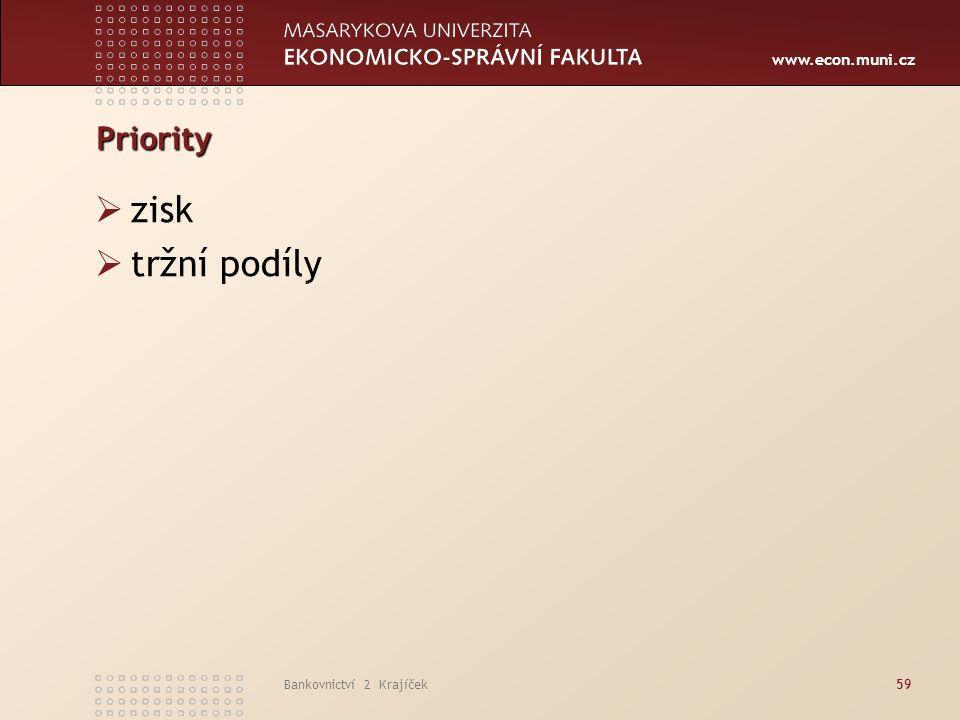 Priority zisk tržní podíly Bankovnictví 2 Krajíček