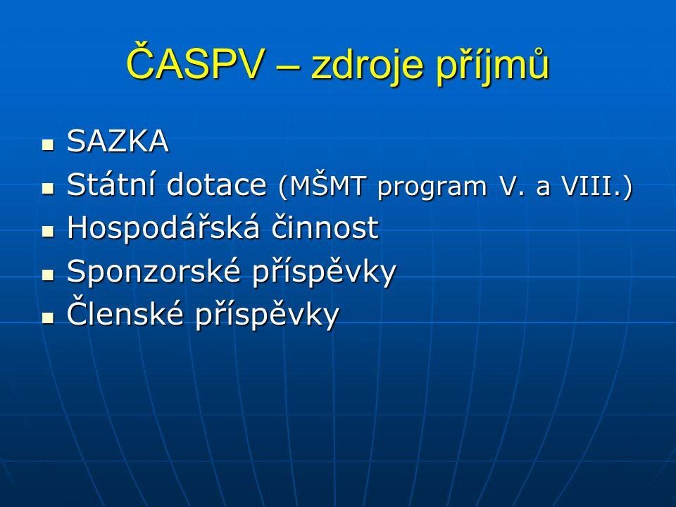 ČASPV – zdroje příjmů SAZKA Státní dotace (MŠMT program V. a VIII.)