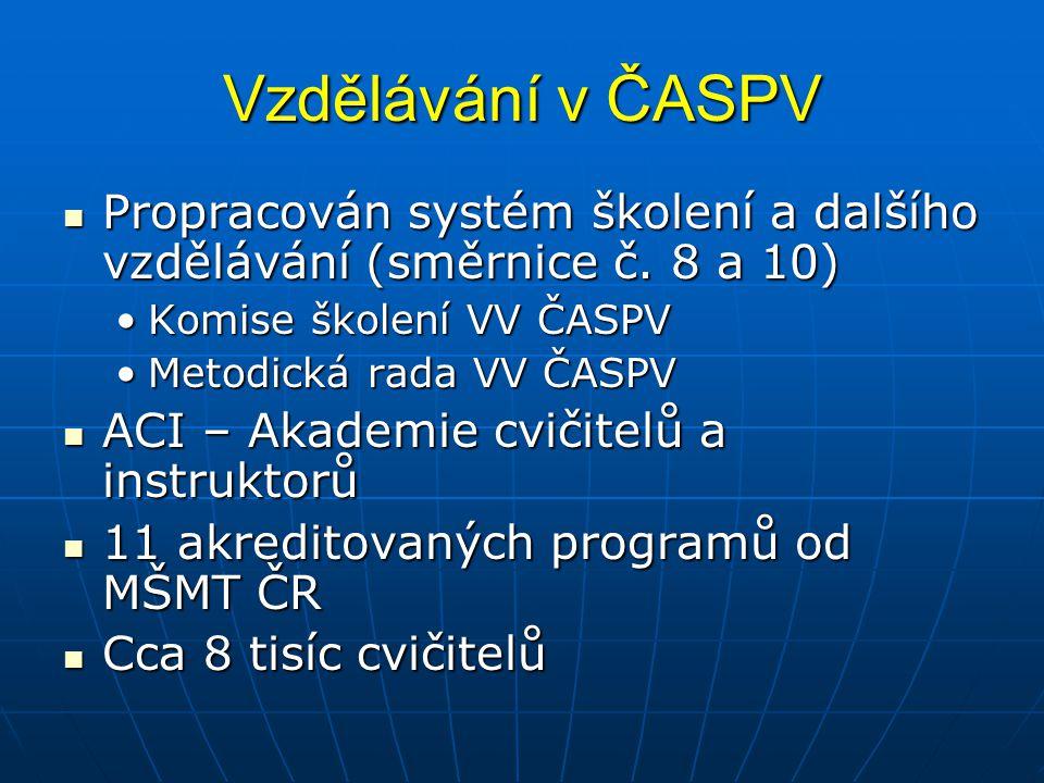 Vzdělávání v ČASPV Propracován systém školení a dalšího vzdělávání (směrnice č. 8 a 10) Komise školení VV ČASPV.