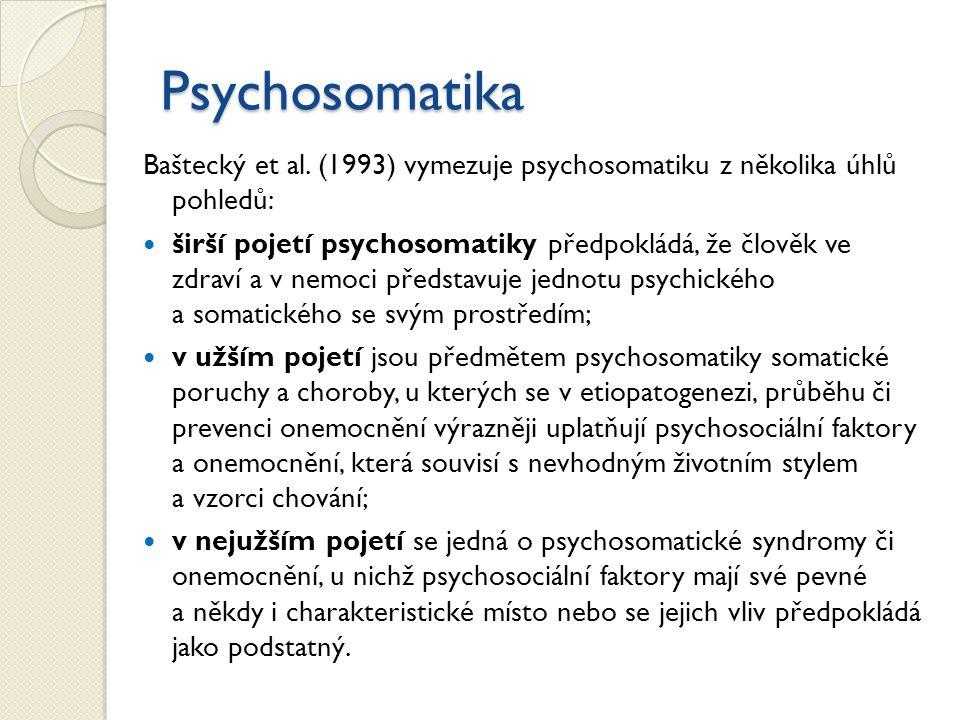 Psychosomatika Baštecký et al. (1993) vymezuje psychosomatiku z několika úhlů pohledů: