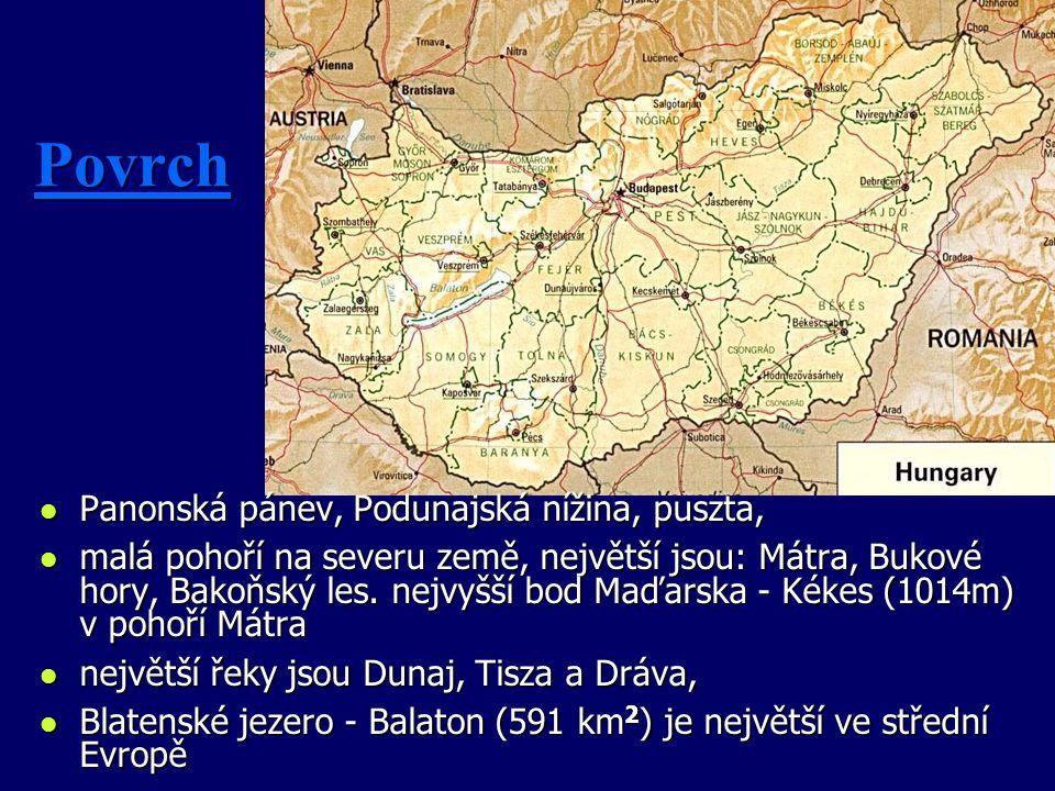Povrch Panonská pánev, Podunajská nížina, puszta,