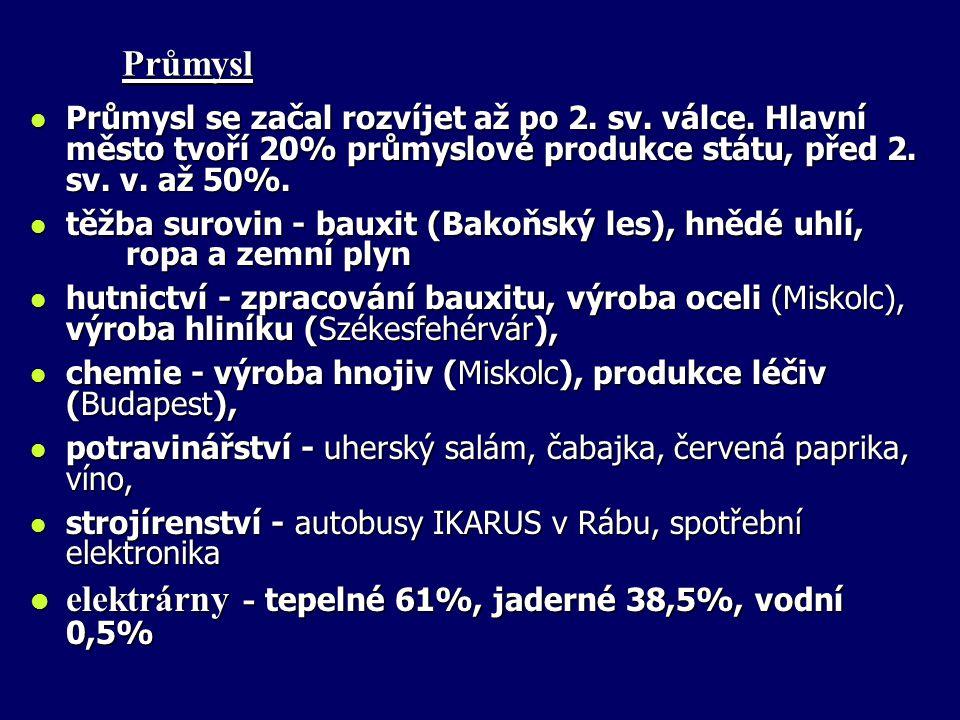 elektrárny - tepelné 61%, jaderné 38,5%, vodní 0,5%