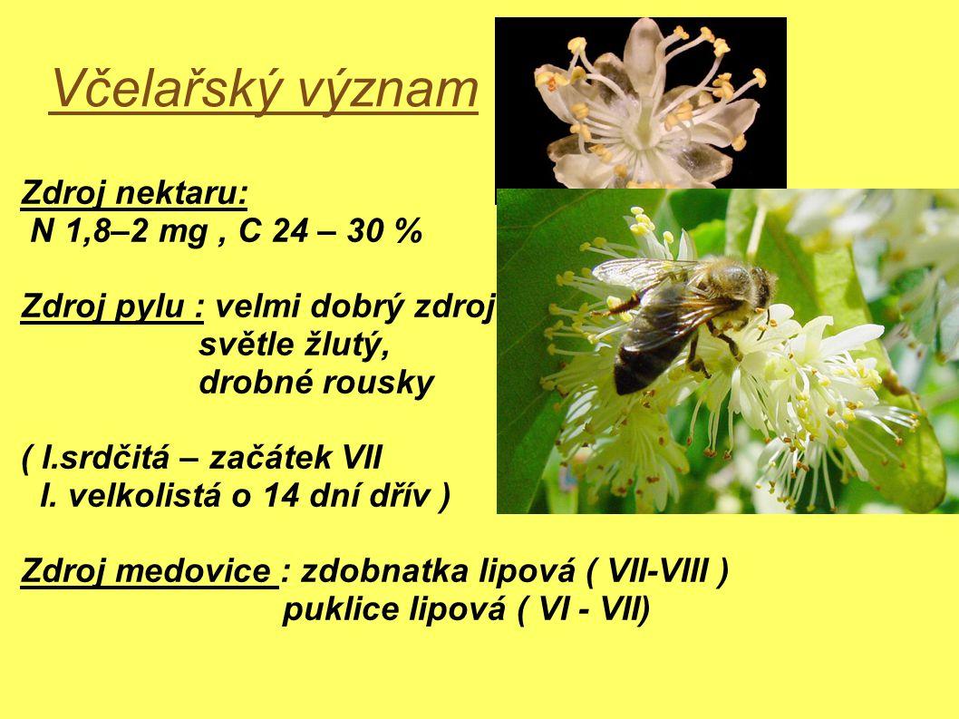 Včelařský význam Zdroj nektaru: N 1,8–2 mg , C 24 – 30 %
