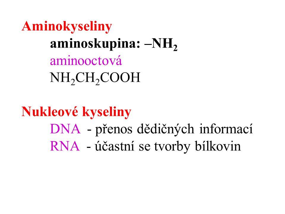 Aminokyseliny aminoskupina: –NH2. aminooctová. NH2CH2COOH. Nukleové kyseliny. DNA - přenos dědičných informací.