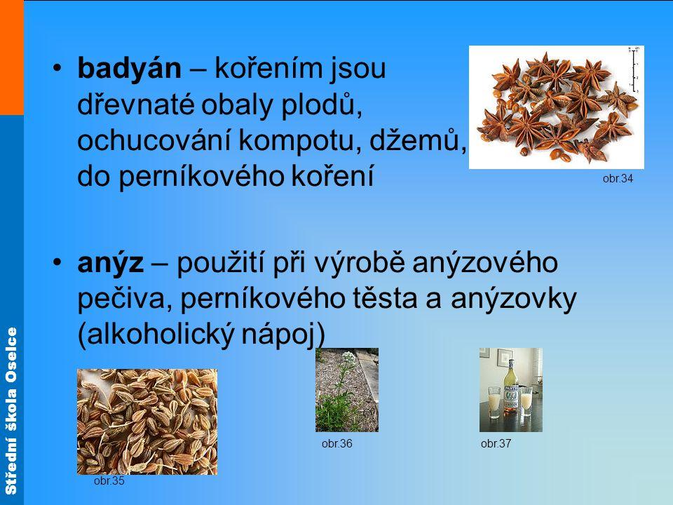 badyán – kořením jsou dřevnaté obaly plodů, ochucování kompotu, džemů, do perníkového koření