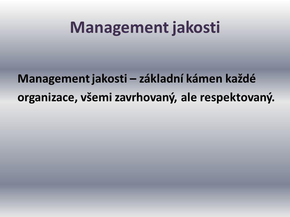 Management jakosti Management jakosti – základní kámen každé