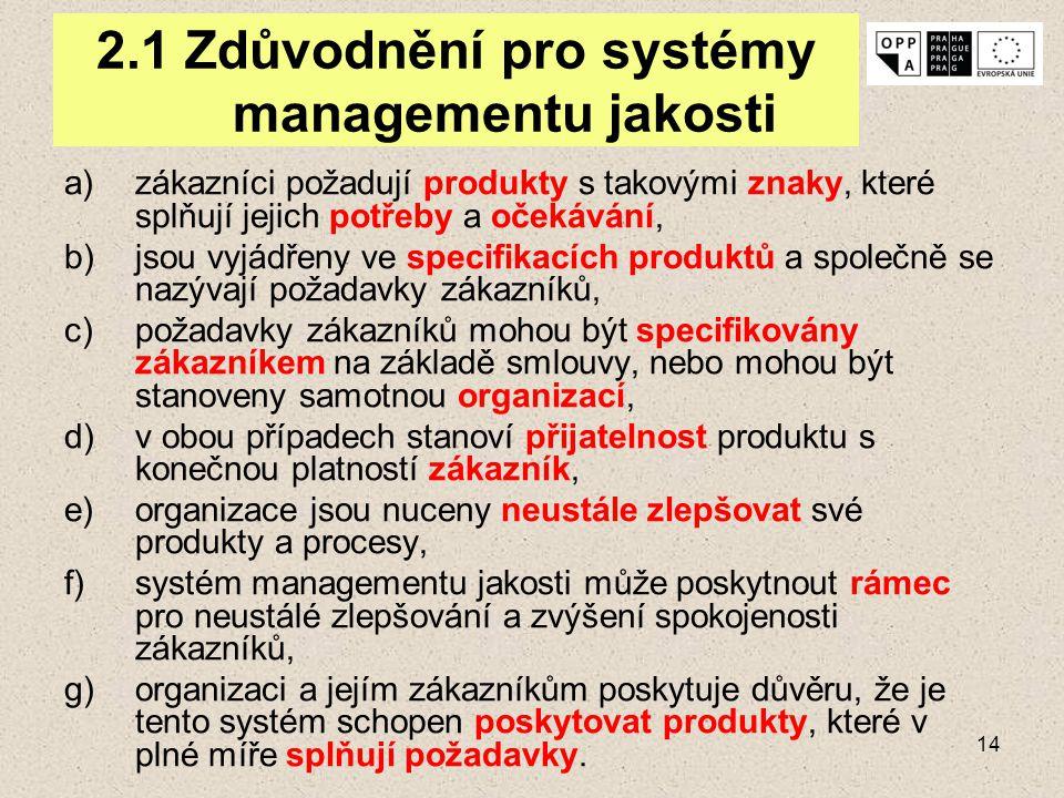 2.1 Zdůvodnění pro systémy managementu jakosti