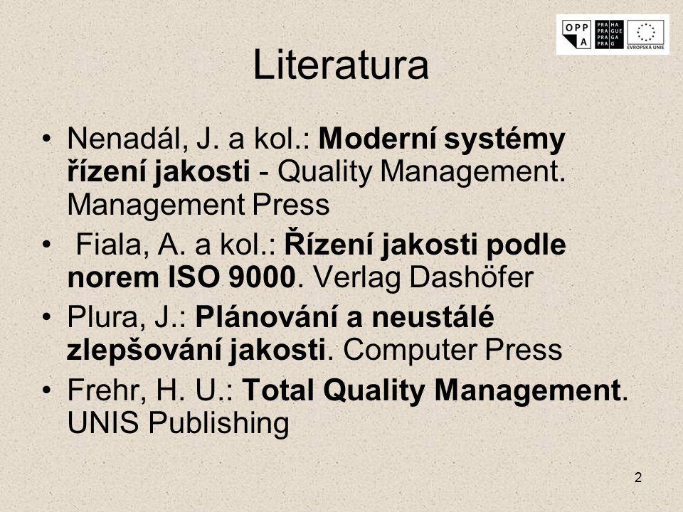 Literatura Nenadál, J. a kol.: Moderní systémy řízení jakosti - Quality Management. Management Press.