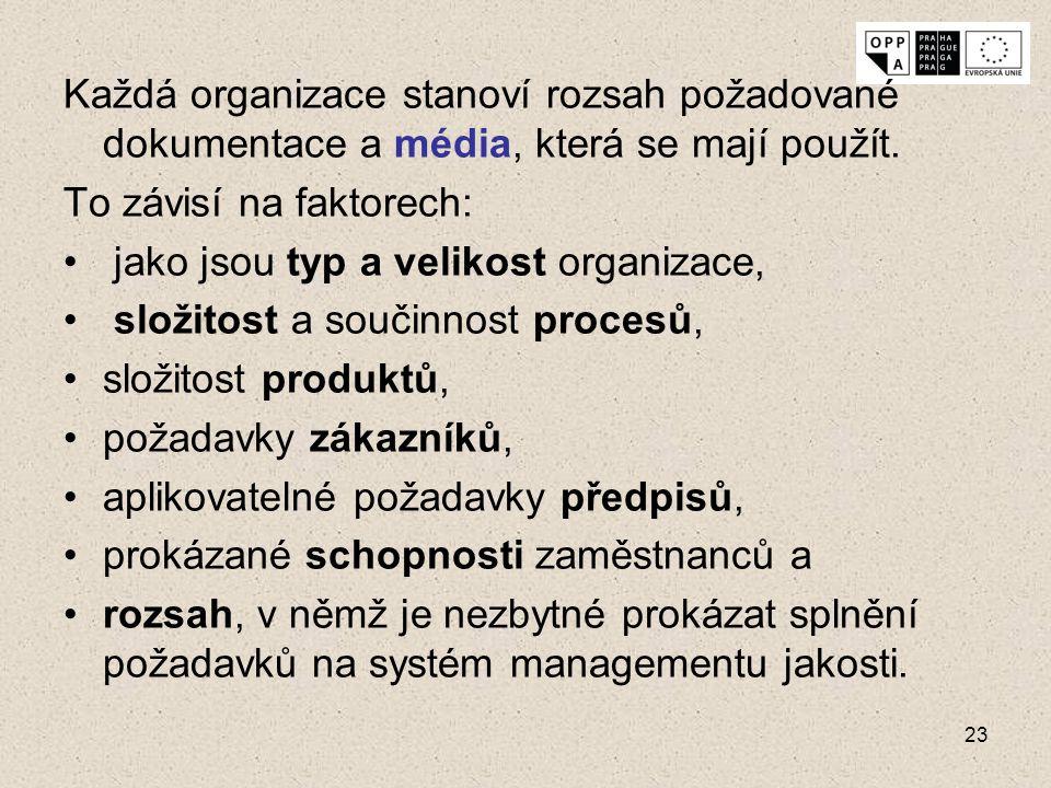 Každá organizace stanoví rozsah požadované dokumentace a média, která se mají použít.