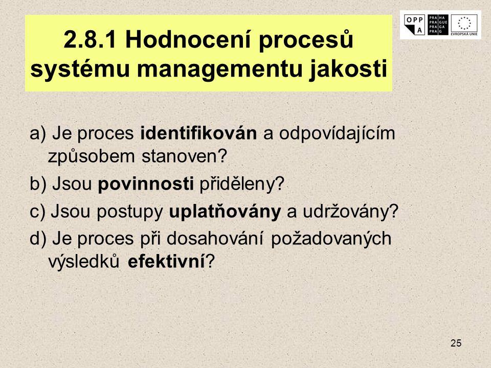 2.8.1 Hodnocení procesů systému managementu jakosti