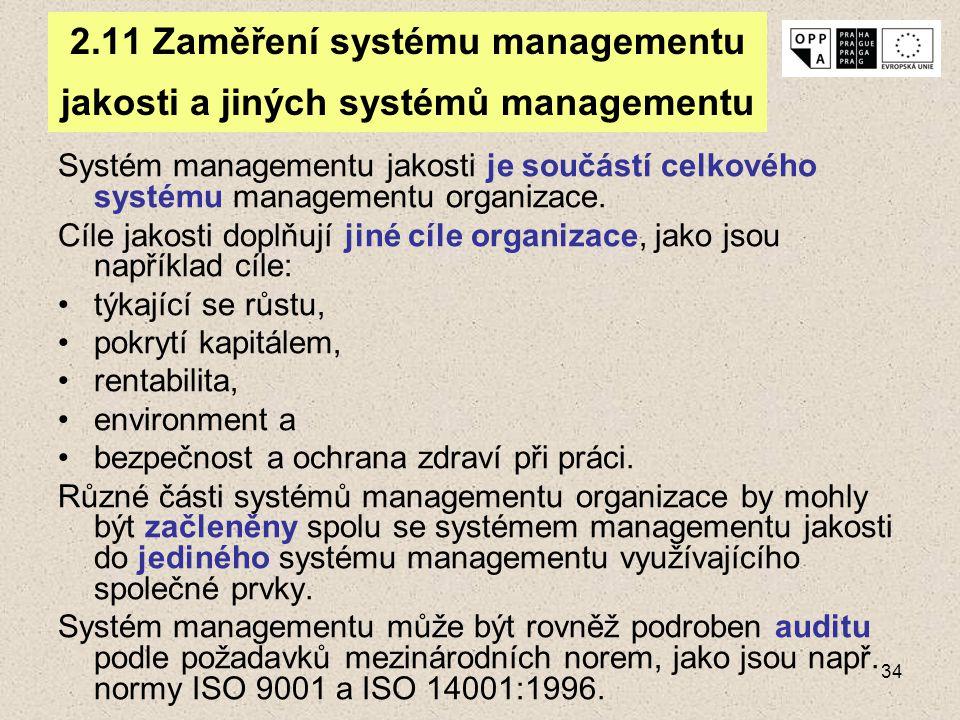 2.11 Zaměření systému managementu jakosti a jiných systémů managementu