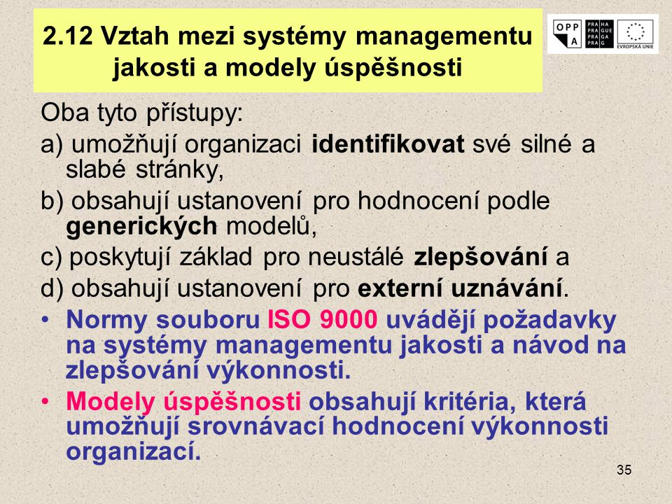 2.12 Vztah mezi systémy managementu jakosti a modely úspěšnosti
