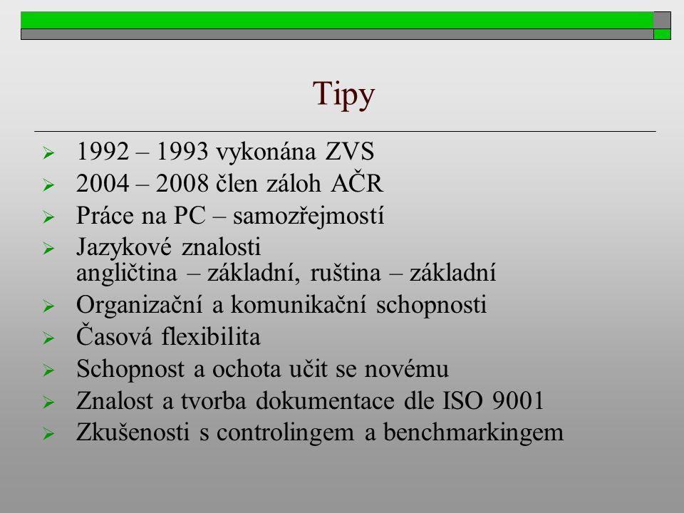 Tipy 1992 – 1993 vykonána ZVS 2004 – 2008 člen záloh AČR