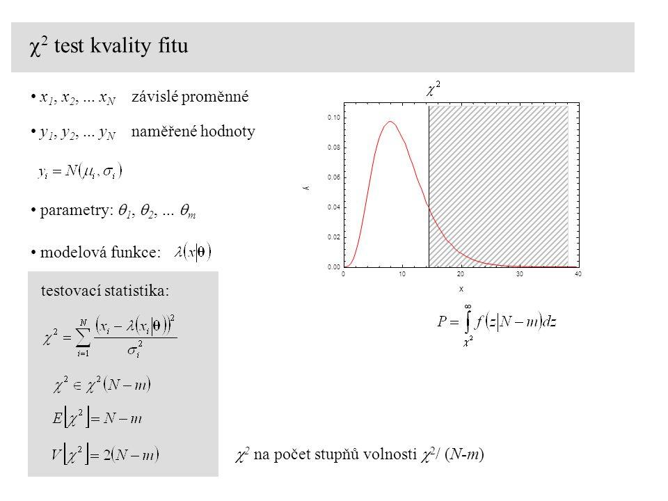 c2 test kvality fitu x1, x2, ... xN závislé proměnné