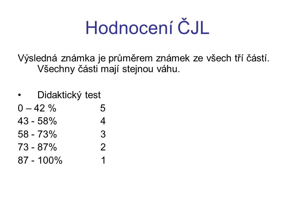 Hodnocení ČJL Výsledná známka je průměrem známek ze všech tří částí. Všechny části mají stejnou váhu.