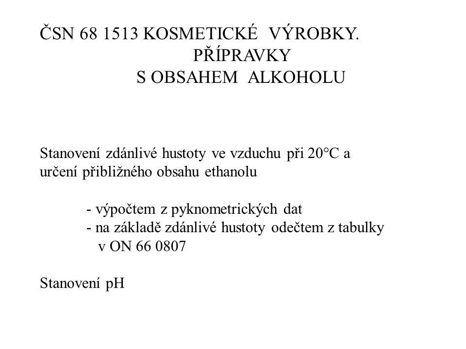 ČSN 68 1513 KOSMETICKÉ VÝROBKY. PŘÍPRAVKY S OBSAHEM ALKOHOLU