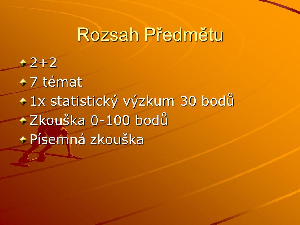 Rozsah Předmětu 2+2 7 témat 1x statistický výzkum 30 bodů