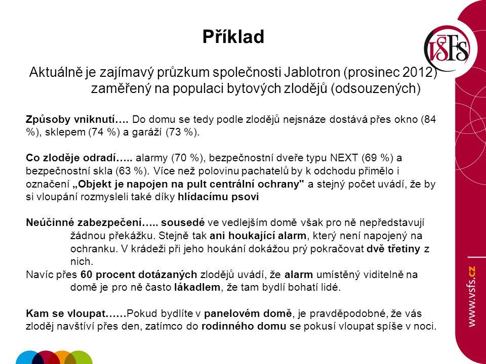 Příklad Aktuálně je zajímavý průzkum společnosti Jablotron (prosinec 2012) zaměřený na populaci bytových zlodějů (odsouzených)