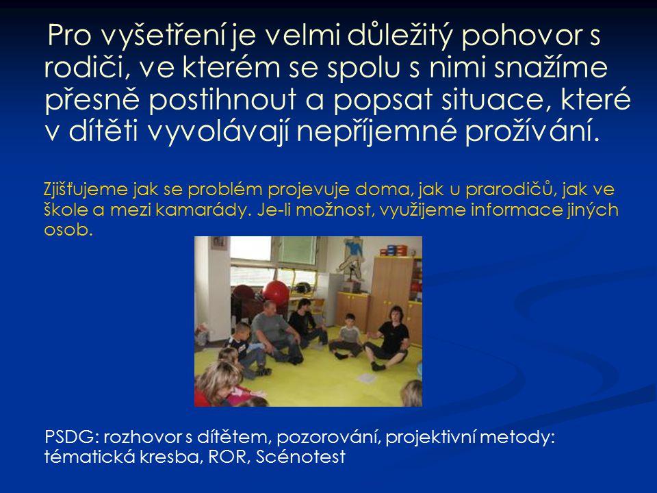 Pro vyšetření je velmi důležitý pohovor s rodiči, ve kterém se spolu s nimi snažíme přesně postihnout a popsat situace, které v dítěti vyvolávají nepříjemné prožívání.