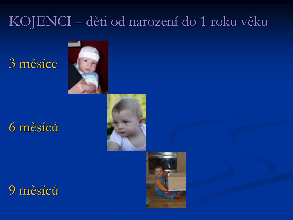 KOJENCI – děti od narození do 1 roku věku