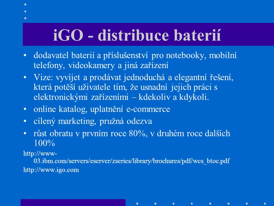 iGO - distribuce baterií