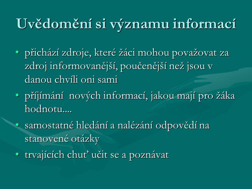 Uvědomění si významu informací