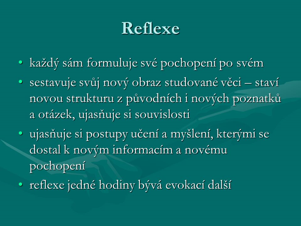Reflexe každý sám formuluje své pochopení po svém