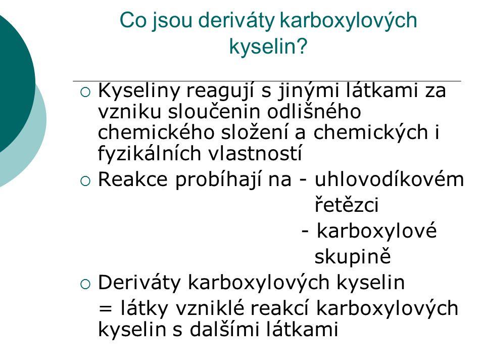 Co jsou deriváty karboxylových kyselin