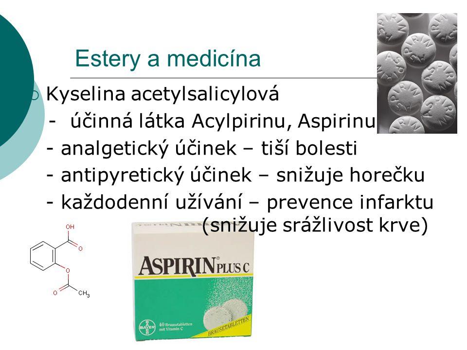 Estery a medicína Kyselina acetylsalicylová