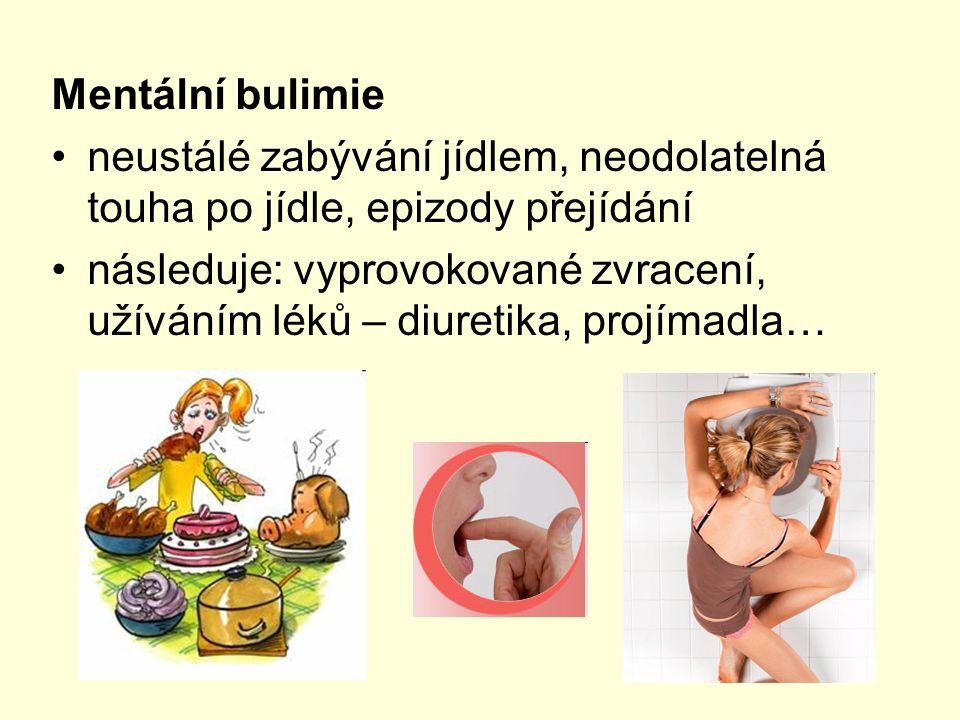 Mentální bulimie neustálé zabývání jídlem, neodolatelná touha po jídle, epizody přejídání.