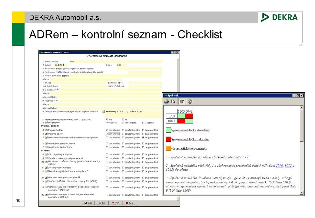 ADRem – kontrolní seznam - Checklist