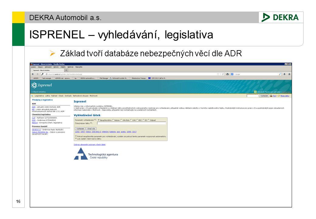 ISPRENEL – vyhledávání, legislativa