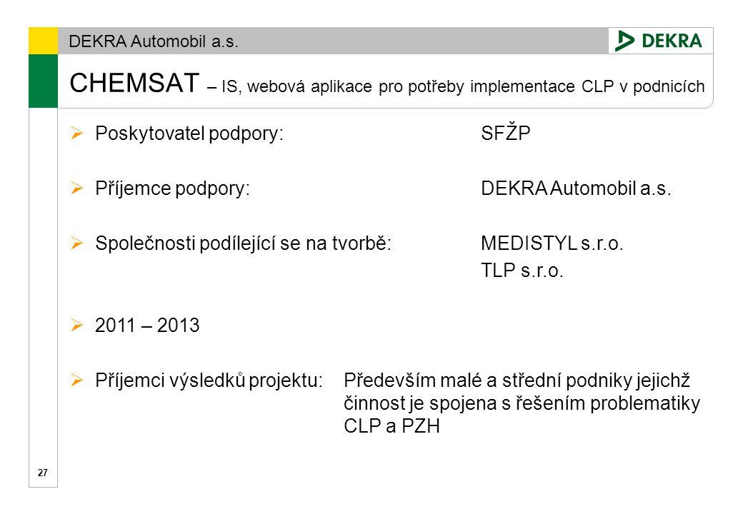 CHEMSAT – IS, webová aplikace pro potřeby implementace CLP v podnicích